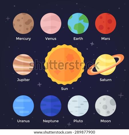 Vector flat  icon set of solar system planets, sun and moon on dark space background. Mercury, venus, earth, mars, jupiter, saturn, uranus, neptune, pluto, stars and sun. - stock vector