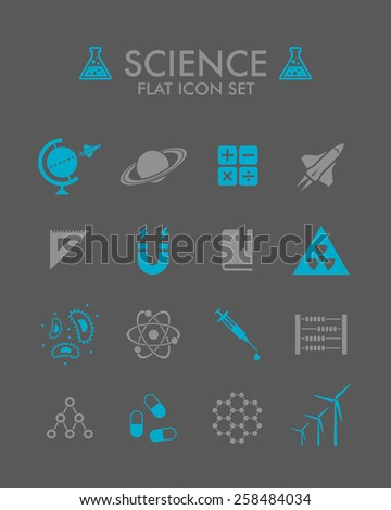 Vector Flat Icon Set - Science  - stock vector