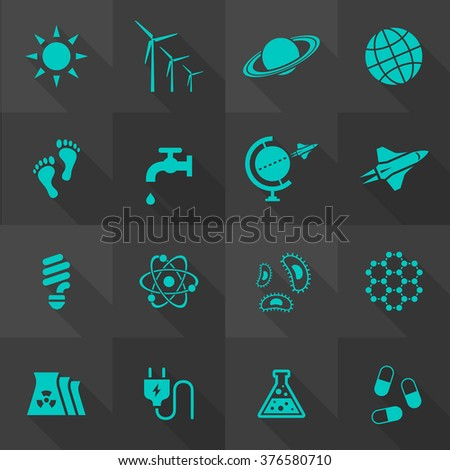 Vector Flat Icon Set - Science and Eco  - stock vector