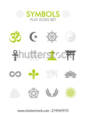 Vector Flat Icon Set - Symbols  - stock vector