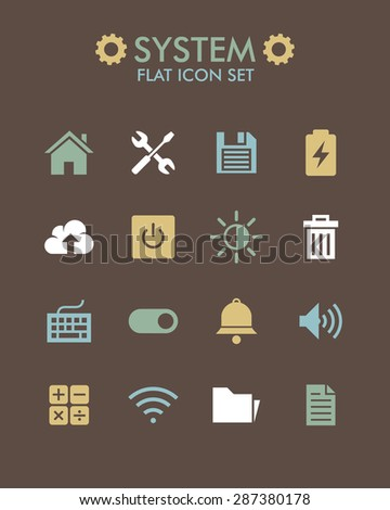 Vector Flat Icon Set - System  - stock vector