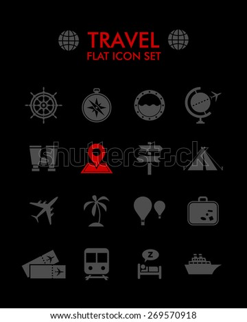 Vector Flat Icon Set - Travel  - stock vector