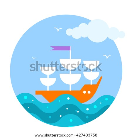 Vector flat icon with sail boat in the sea