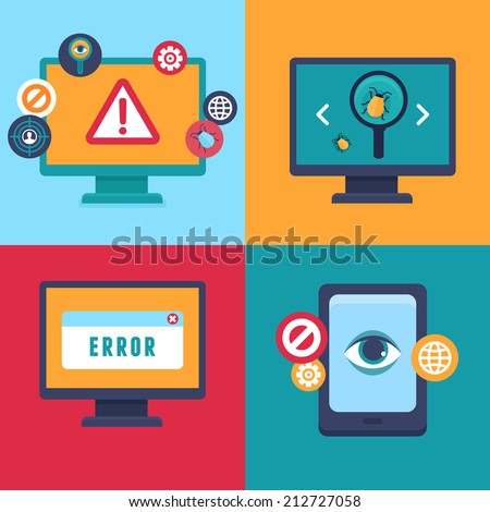 Vector flat icons and illustrations - internet security and virus warning - computer attack and virus infection - stock vector