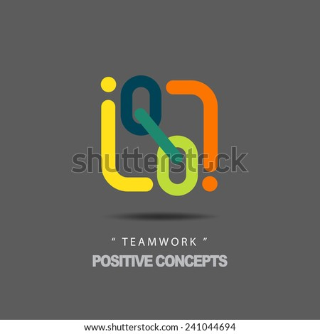 """Vector Flat Icons and Logo Design Concept """"Positive Concepts about Teamwork"""" Blending Color Mode. - stock vector"""
