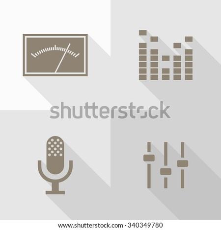 Vector Flat Icons - Audio - stock vector