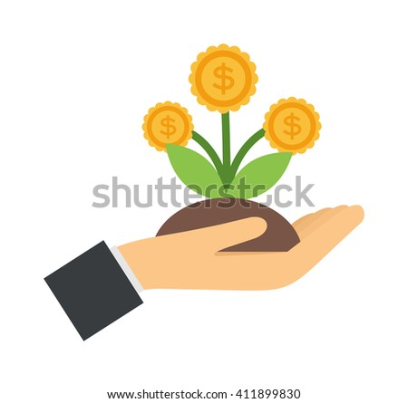Vector flat icons design money flower dollar sign investment concept. Money flower currency business and money flower economic ideas decoration. Nature savings money flower success tree. - stock vector