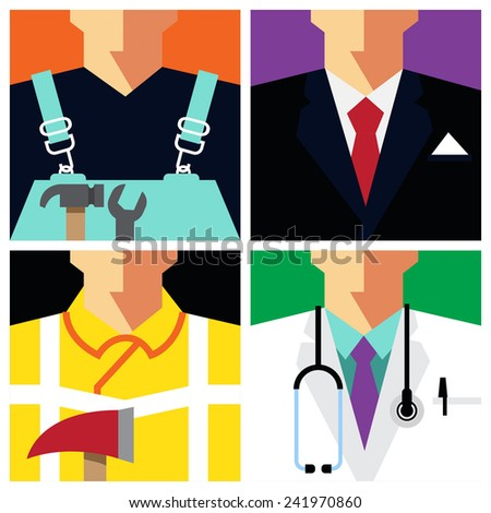 "Vector Flat Icons Design 4 Occupations ""Repairman, Businessman, Fireman, Doctor""   - stock vector"