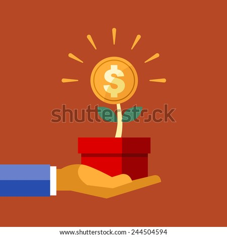 Vector Flat Icons Design Tree of Money and Dollar Sign Flower, Investment Concepts. - stock vector