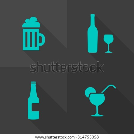 Vector Flat Icons - Drink - stock vector