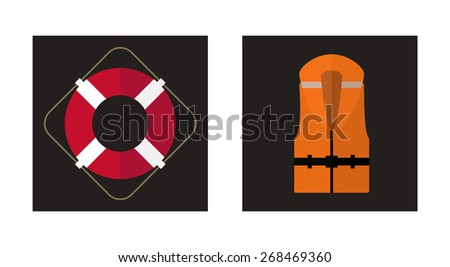Vector flat icons of lifebuoy and life jacket. - stock vector