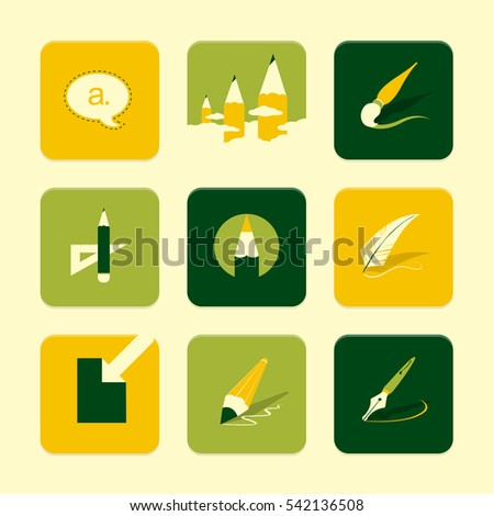 Vector Flat Icons Set - Art objects