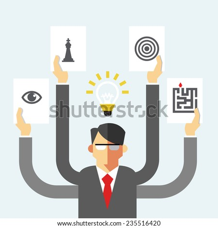 Vector Flat Icons Set Businessman and Symbol of Various Strategy Icons with Ideas on Head, Strategy Concept - stock vector