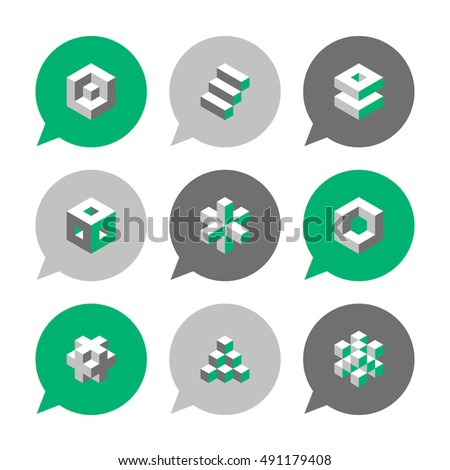 Vector Flat Icons Set - Cube Icons