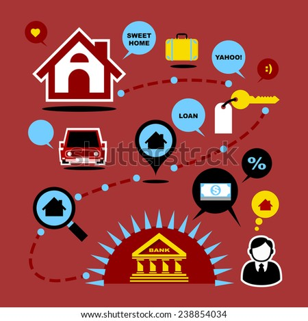 Vector Flat Icons Set Design about Home Mortgage. Business Finance and Loan Concept.  - stock vector