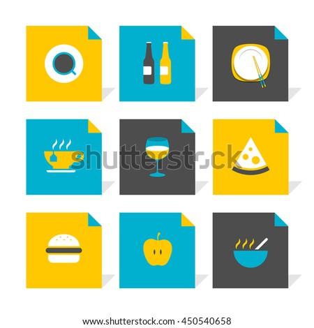 Vector Flat Icons Set - Gastronomy - stock vector