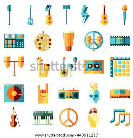 Vector flat icons set, Music theme. Guitar, tape, drums, note, vinyl. Rock, metal, pop, hip hop, punk, electronic, latin, classical, jazz, blues, disco.