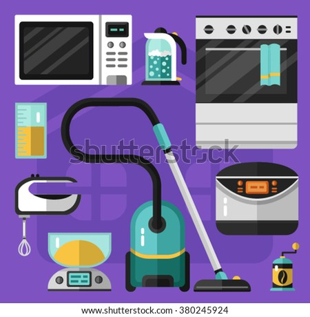 Vector flat icons set of appliance. Vacuum cleaner, microwave oven, mixer, electric scales, electric kettle, measuring cup, stove, breadmaker, coffee grinder. Kitchen utensils illustration. - stock vector