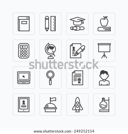 Vector flat icons set of education school tools outline concept. - stock vector