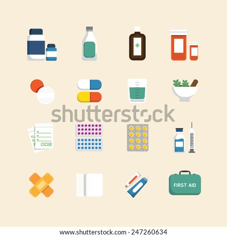 Vector flat icons set of medical & health care design concept. - stock vector
