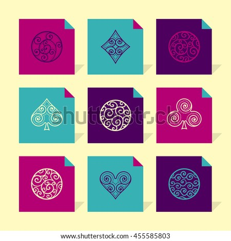 Vector Flat Icons Set - Ornamental Abstract