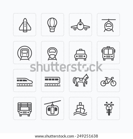 Vector flat icons set transportation outline concept. - stock vector