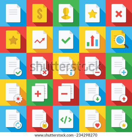 Vector flat icons set with long shadow for web and mobile apps. Colorful modern design illustrations, elements, interface concepts of working with documents. Document icons for ui, web design, website - stock vector