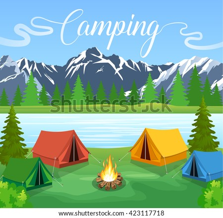 Vector flat illustration camping. Nature background with grass, forest, mountains and hills. Outdoor activities. Tent and fire camp - stock vector