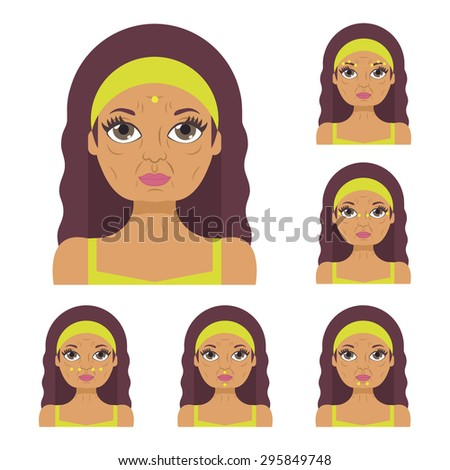 Vector flat illustration: facial acupressure instruction demonstrated on aged beautiful latina woman in pistachio clothes - stock vector