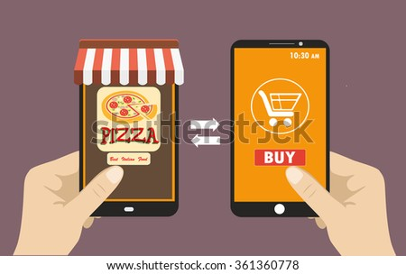 Vector flat illustration .Hand holding smart phone, order pizza using a smartphone in pizzeria,  e-commerce on the phone. - stock vector