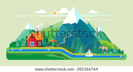 Vector flat illustration - House at the lake. House in the mountains. Wild nature. Ecotourism - stock vector