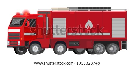 Vector flat illustration of a heavy truck, fire truck, fire brigade, red car, quick response.