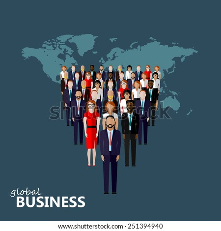 vector flat illustration of a leader and a team. a group of men and women (business men or politicians). leadership or global business concept. transnational corporate structure  - stock vector