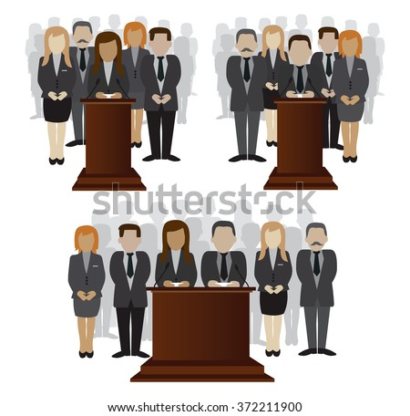 vector flat illustration of a party candidate or leader and electorate crowd  - stock vector