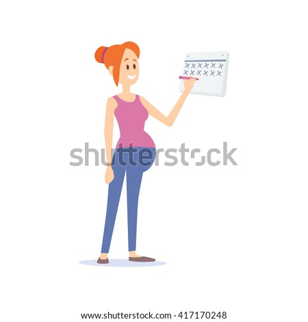 Vector flat illustration of a redhead young pregnant woman, marking days on a calendar.