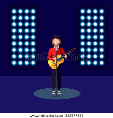vector flat illustration of a singer on stage. music performance or entertainment show  - stock vector