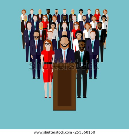 vector flat  illustration of a speaker (party candidate or leader) and team or electorate crowd. political campaign. election debates or press conference concept - stock vector