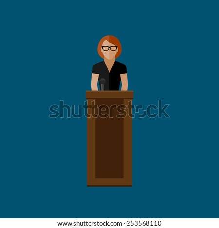 vector flat  illustration of a speaker. politician. election debates or press conference concept
