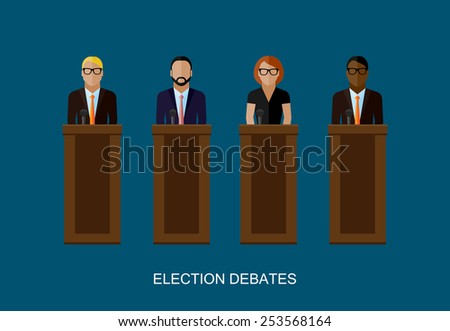 vector flat  illustration of a speakers. politicians. election debates or press conference concept - stock vector