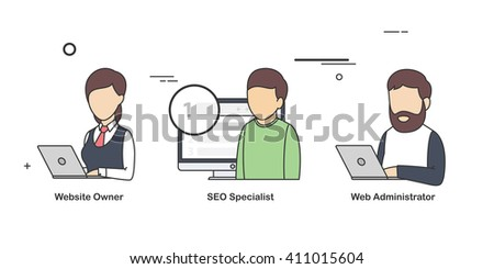 Vector Flat Illustration of a Types of People who Deals with Websites. - stock vector