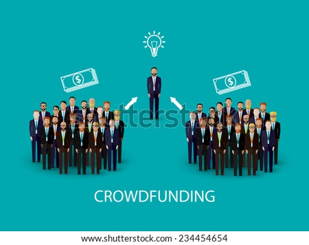vector flat illustration of an infographic crowdfunding concept. a group of business men wearing suits and ties.  - stock vector