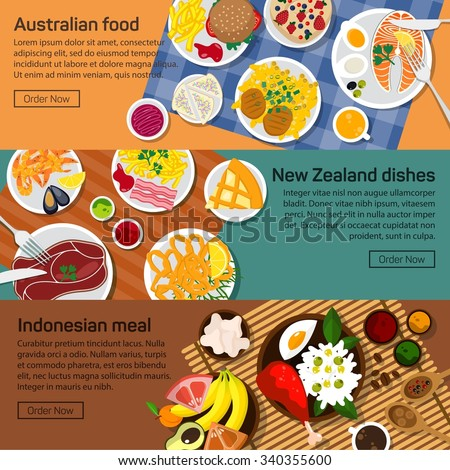 Vector flat illustration of Australia, New Zealand, Indonesia national dishes. Salads and meat meals with sauce and spicy ingredients, fruits - stock vector