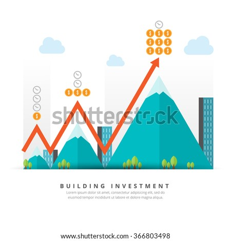 Vector flat illustration of building investment concept design elements. - stock vector