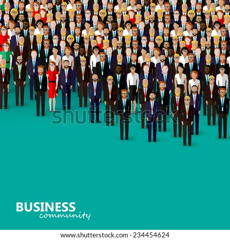 vector flat illustration of business or politics community. a crowd of men and women (business community or politicians) wearing suits, ties and dresses. - stock vector