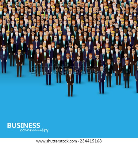 vector flat illustration of business or politics community. a crowd of men (business men or politicians) wearing suits and ties.  - stock vector