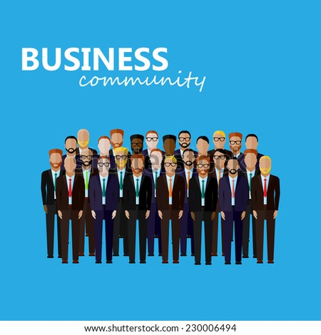 vector flat  illustration of business or politics community. a large group of men (business men or politicians) wearing suits and ties. summit or conference family image - stock vector