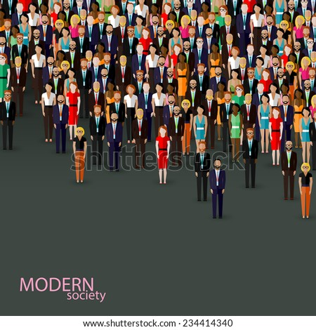 vector flat illustration of business or politics community. crowd of well-dresses men and women (business men, women or politicians) wearing suits, ties and dresses.  - stock vector