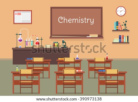 Vector flat illustration of chemistry classroom at the school, university, institute, college. Desks with books rulers, flasks, bottles, beaker, microscope, blackboard, chalk, bookshelf, clock - stock vector
