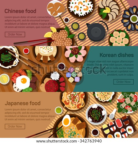 Vector flat illustration of chinese, japanese,korean, hong kong national dishes.Sushi meals with spicy ingredients.Rice, noodles, soybeans, vegetables, fish, tofu, meat, soy, garlic, paper ingredients - stock vector