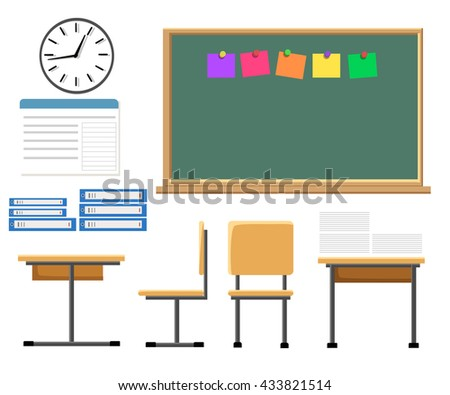 Vector flat illustration of  classroom at the school School classroom with chalkboard and desks.  - stock vector